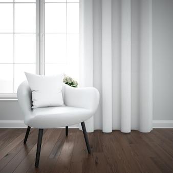Moderne kamer met comfortabele stoel