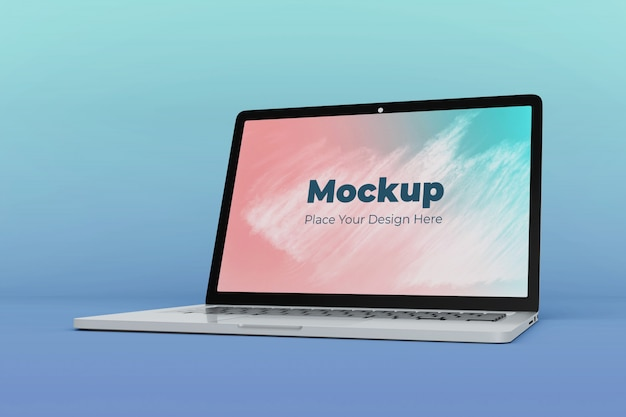 Moderne kantoor laptop mockup ontwerpsjabloon