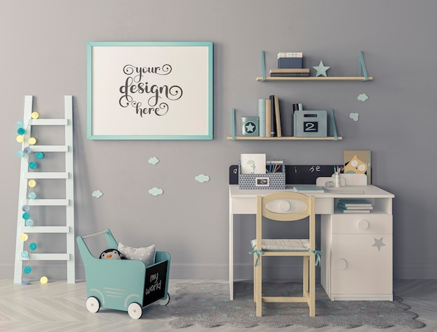 Moderne kinderkamer met set van stoel en bureau, ladder die tegen de muur leunt