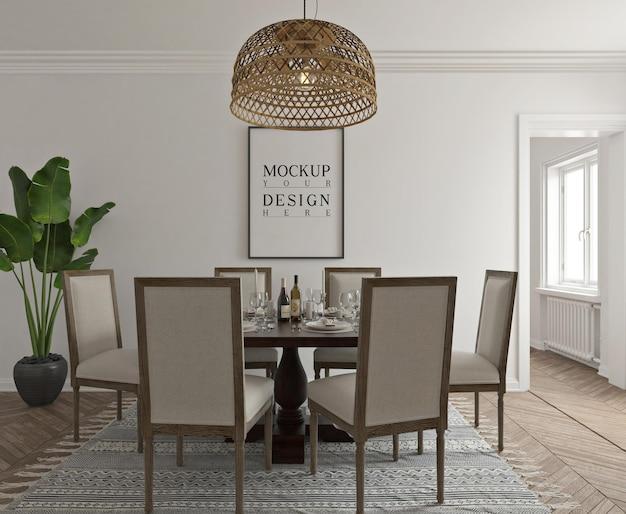 Moderne klassieke eetkamer met postermodel