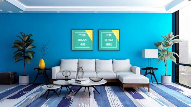 Moderne luxe blauwe woonkamer interieur met mockup fotolijst
