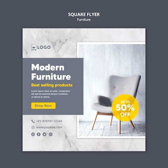 Moderne meubelen korting vierkante flyer