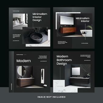 Moderne meubels social media postsjablooncollectie premium psd