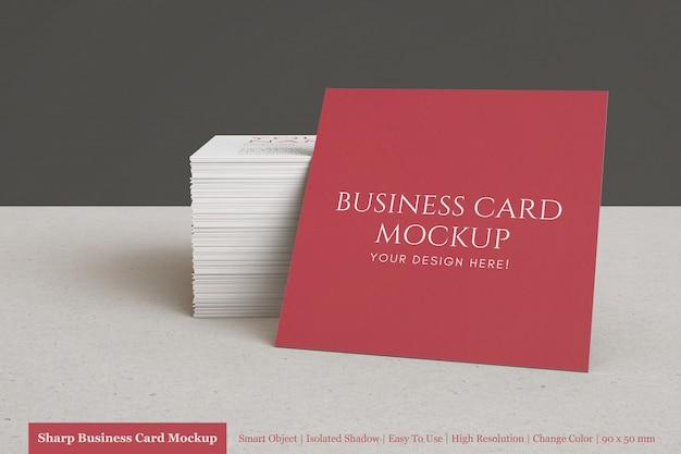 Moderne minimaal gestapelde vierkante visitekaartjes mock ups psd-sjabloon