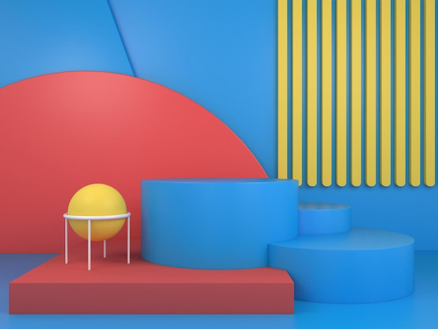 Moderne minimale podiumgeometrie 3d render podiumweergave