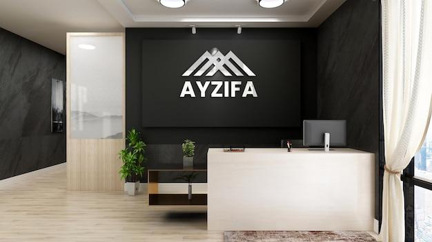Moderne minimalistische receptie met lichtgevend realistisch logo en postermodel
