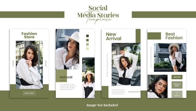 Moderne mode sociale media verhalen of webbannersjabloon