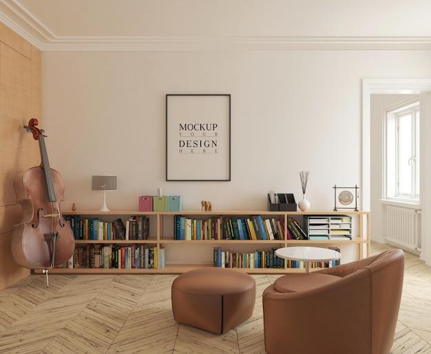 Moderne muziekkamer met mockup-poster