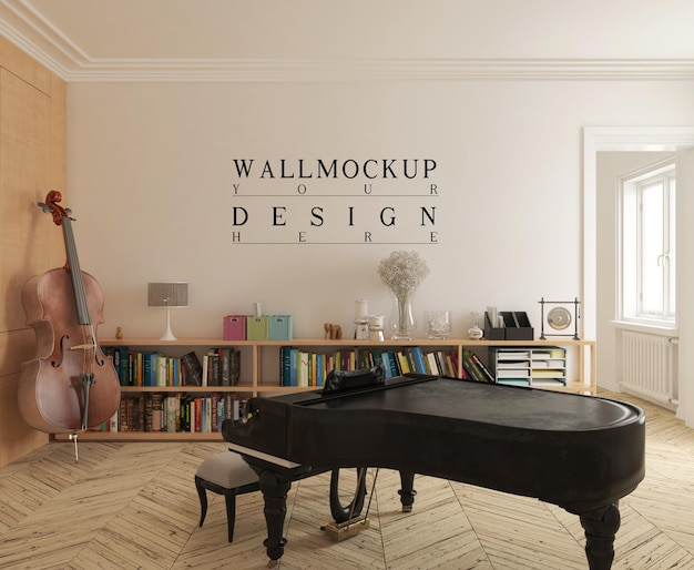 Moderne muziekkamer met mockupmuur en piano