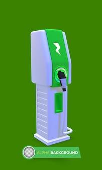Moderne oplader voor elektrische voertuigen. 3d illustratie