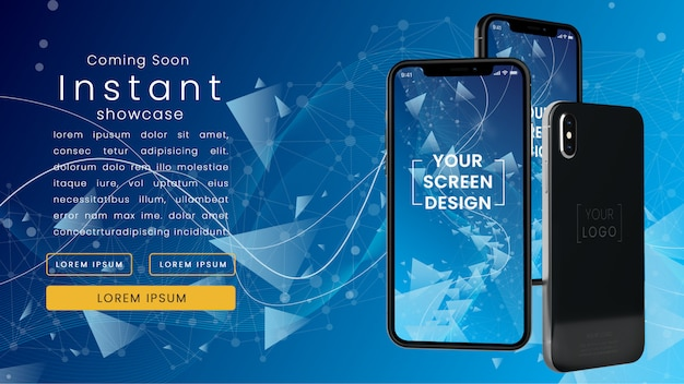 Moderne, pixel perfecte mockup van drie realistische iphone x op een blauwe technologische netwerk met tekst sjabloon psd mock up