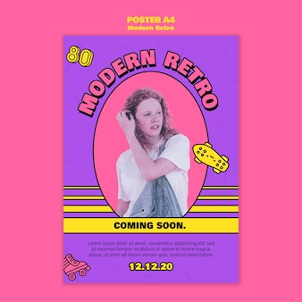 Moderne retro poster sjabloon Premium Psd