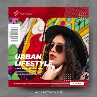 Moderne rode diagonaal gesneden mode verkoop instagram postfeed