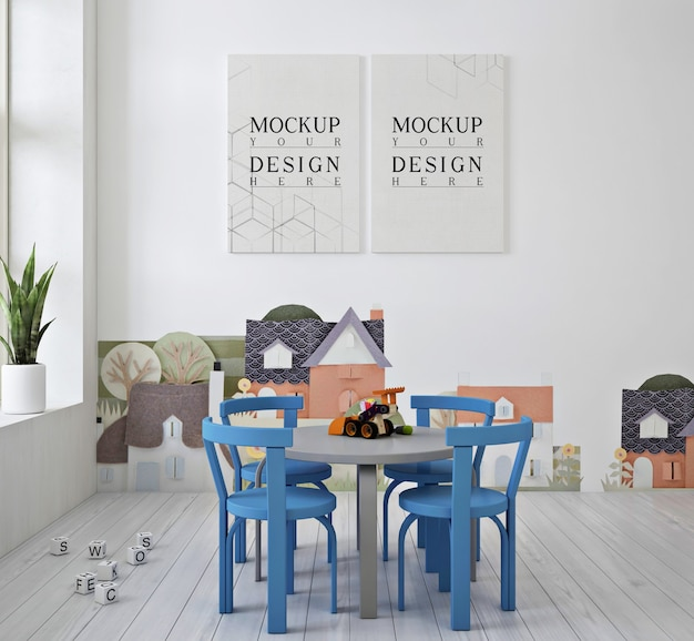 Moderne schattige kleuterschool met poster mockup en blauwe stoel