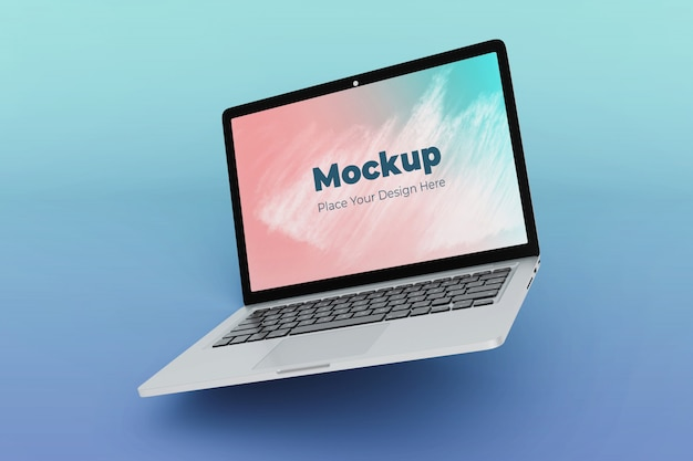 Moderne schone drijvende laptop mockup ontwerpsjabloon