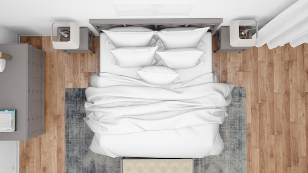 Moderne slaapkamer of hotelkamer met tweepersoonsbed en elegant meubilair, bovenaanzicht