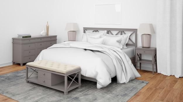 Moderne slaapkamer of hotelkamer met tweepersoonsbed en elegant meubilair