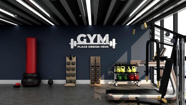 Moderne sportschool interieur muur logo mockup