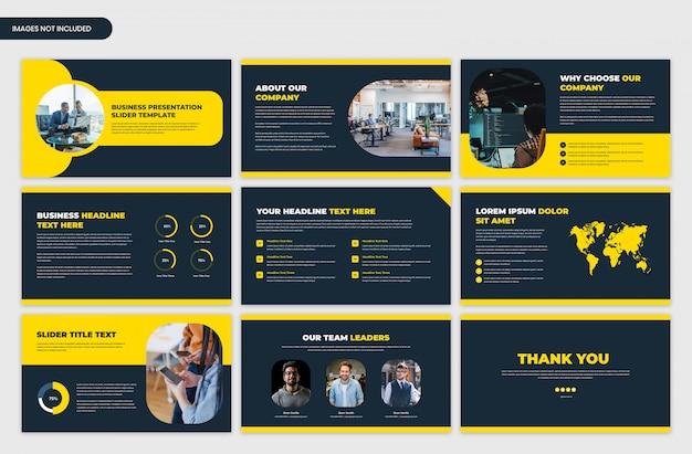 Moderne start- en bedrijfspresentatie gele schuifregelaar sjabloon