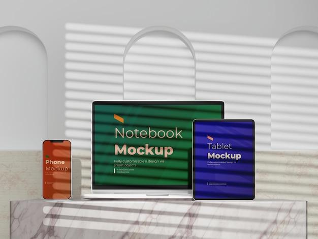 Moderne stijlen digitale apparaten mock-up sjabloon