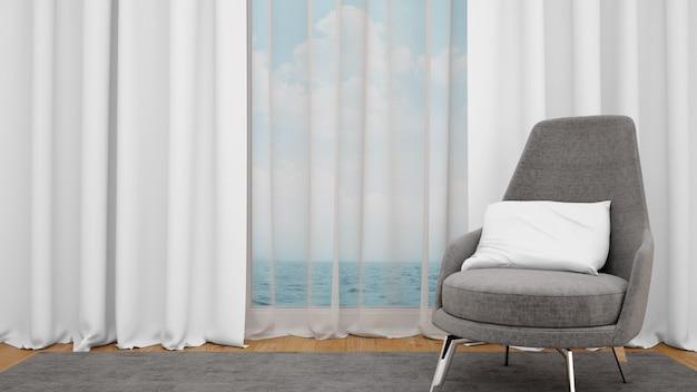 Moderne stoel naast een groot raam met uitzicht op zee