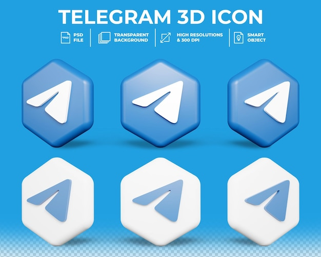 Moderne telegram sociale media geïsoleerde 3d-pictogram