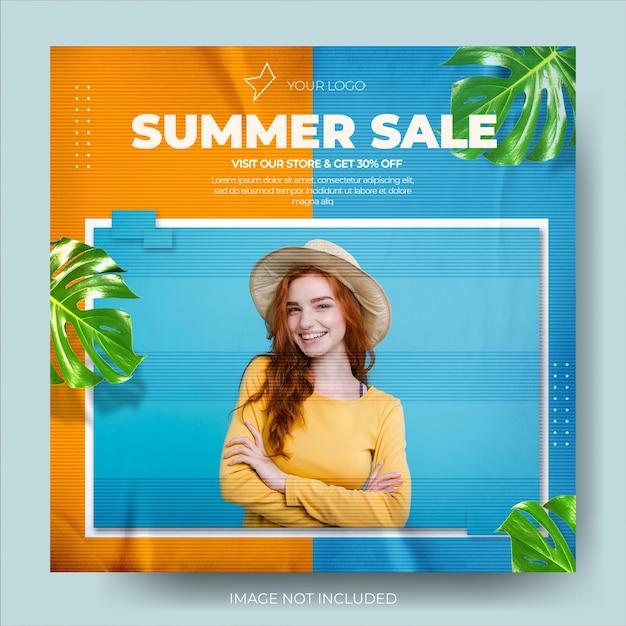 Moderne tweekleurige zomermodeverkoop instagram postfeed