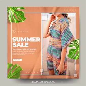 Moderne verfrommelde mode zomerverkoop instagram postfeed