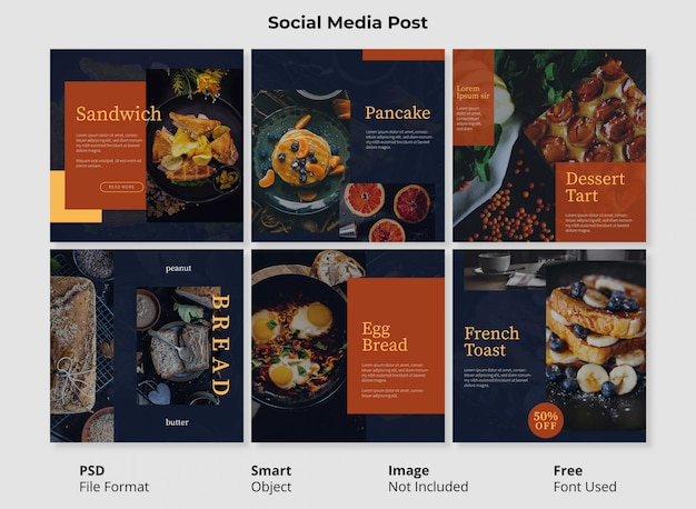 Moderne verkoop en instagram postbanner voor eten en drinken bewerkbaar met slim object psd