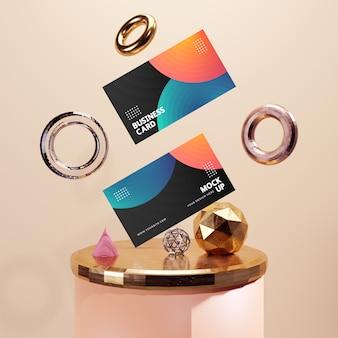 Moderne visitekaartje mockup met 3d-abstracte achtergrond