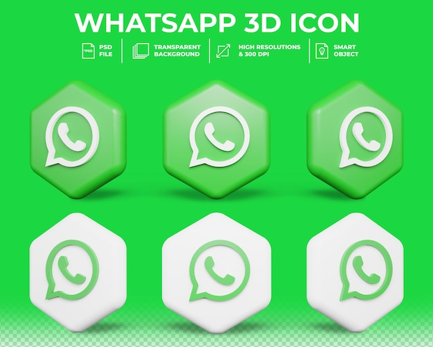 Moderne whatsapp sociale media geïsoleerde 3d-pictogram