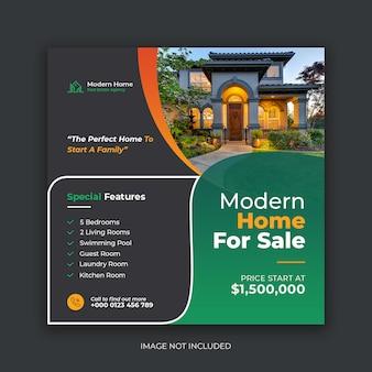 Moderne woning verkoop onroerend goed sociale media sjabloon voor spandoek