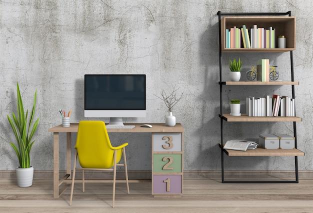 Moderne woonkamer werkruimte met bureau en desktop computer