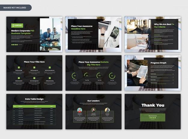Moderne zakelijke startup en zakelijke presentatiesjabloon