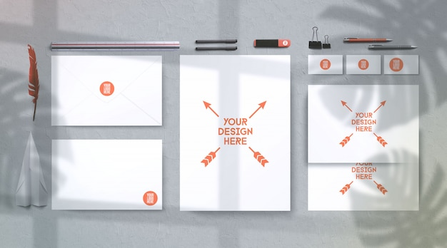 Moderne zomer sunglight briefpapier mockup, bovenaanzicht