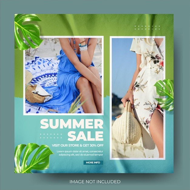 Moderne zomerverkoop instagram postfeed Premium Psd