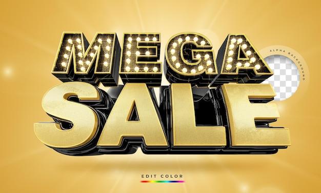 Moderne zwarte en gouden 3d mega sale-banner, promotiesjabloon. Premium Psd