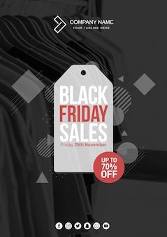 Moderne zwarte vrijdag cover mockup