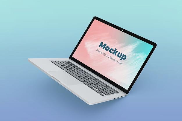 Moderne zwevende laptop mockup ontwerpsjabloon van hoge kwaliteit