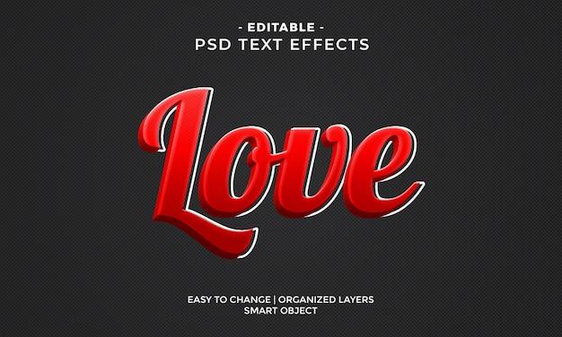 Moderni effetti di testo colorato amore