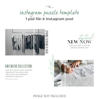 Moderno, creativo y elegante rompecabezas de instagram, cuadrícula, plantilla de collage