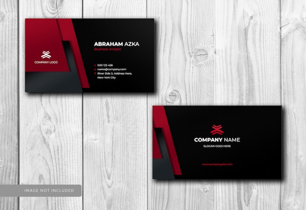 Moderno diseño de tarjeta roja con corporativo