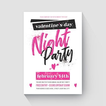 Moderno flyer valentines day pink cute