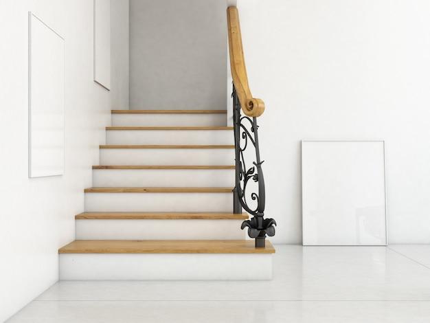 Moderno salón interior con escaleras y marcos en blanco