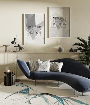 Moderno salotto bianco con divano e cornice mockup