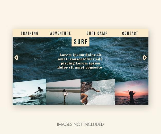 Moderno sitio web de plantillas de surf