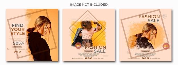 Modeverkoop social media post of instagram-bannersjabloon