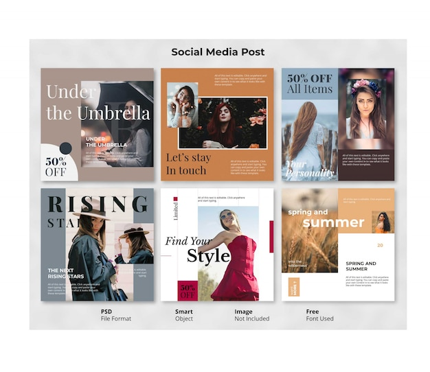 Modificabile fashion square social post banner template