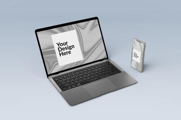 Modificabile imposta i dispositivi digitali sullo schermo del modello di smartphone e laptop