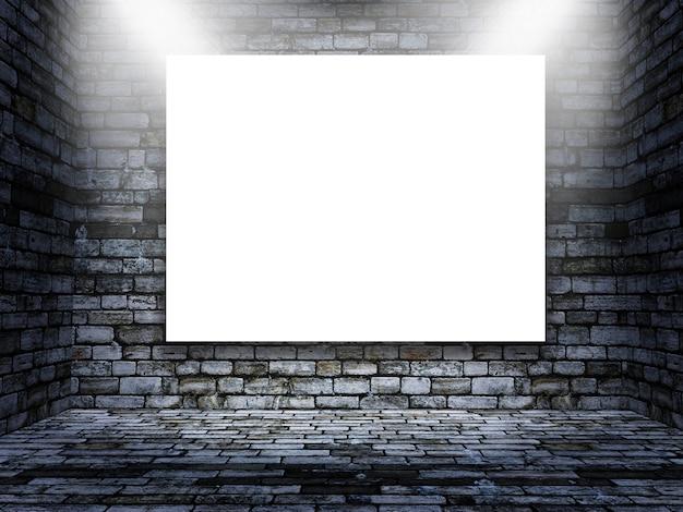 Modificabile mock up di foto in bianco in una stanza di mattoni grunge